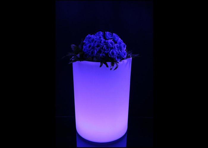 Multi Color LED Illuminated Furniture 240V Light Up Flower Pots PE Coated